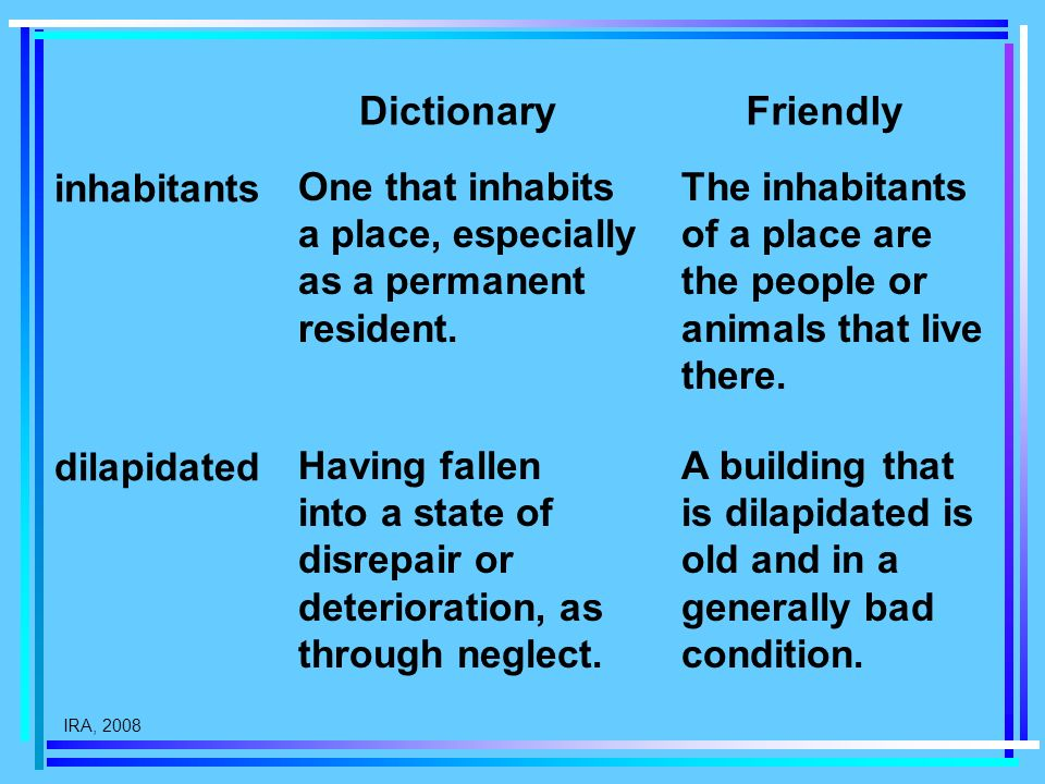 IRA, 2008 One that inhabits a place, especially as a permanent resident. DictionaryFriendly dilapidated inhabitants The inhabitants of a place are the