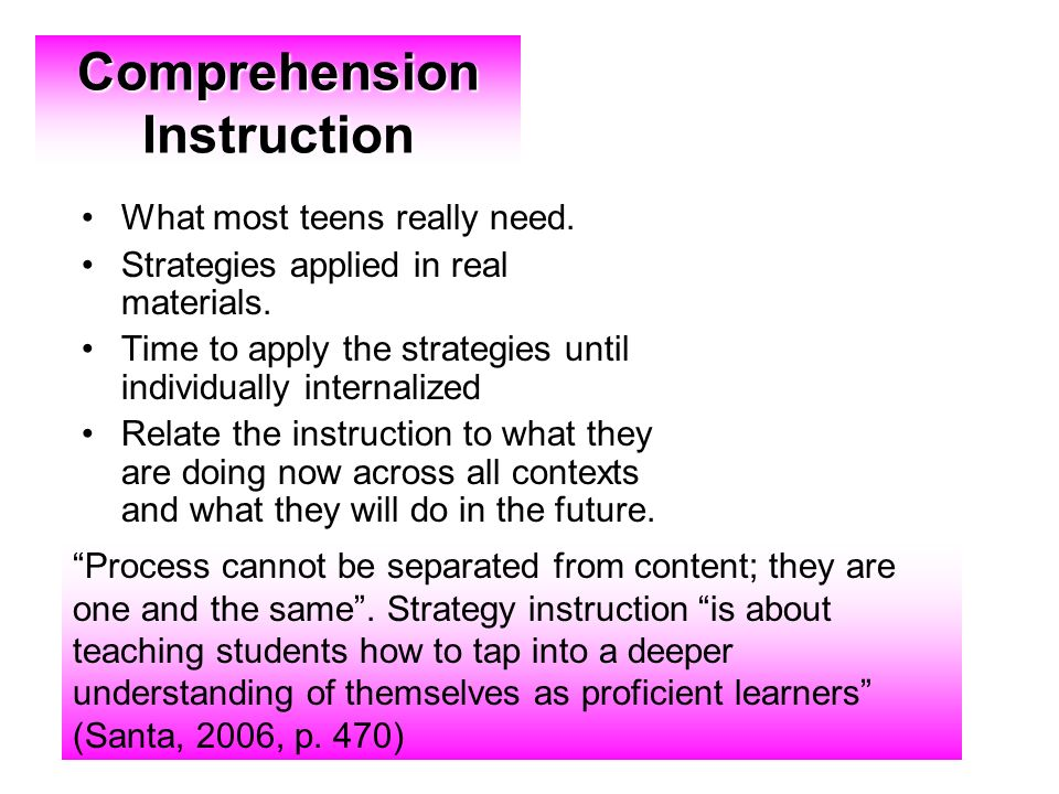 Comprehension Instruction What most teens really need.