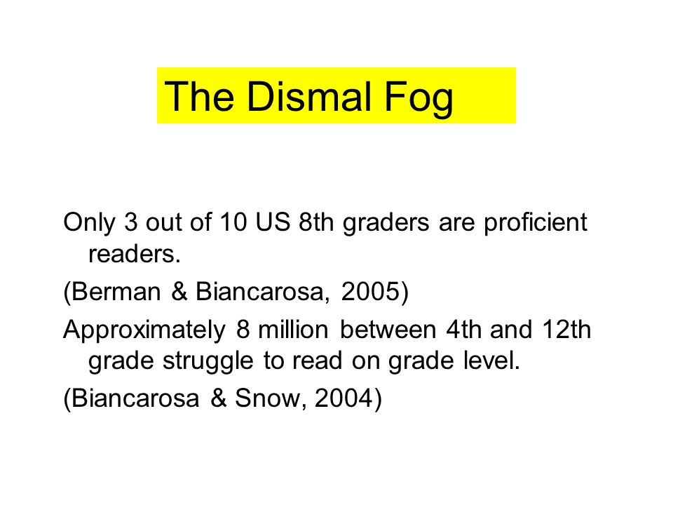 Only 3 out of 10 US 8th graders are proficient readers.