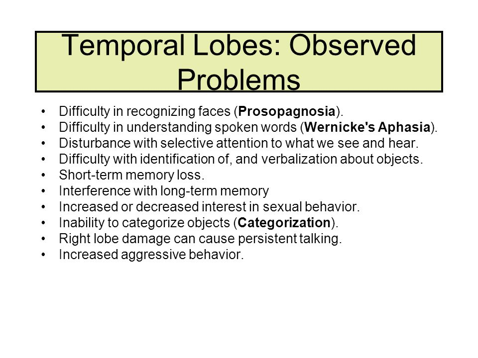 Temporal Lobes: Observed Problems Difficulty in recognizing faces (Prosopagnosia). Difficulty in understanding spoken words (Wernicke's Aphasia). Dist