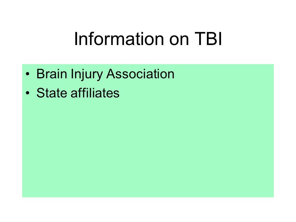 Information on TBI Brain Injury Association State affiliates