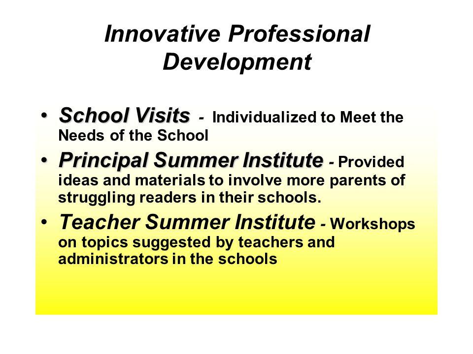 Innovative Professional Development School VisitsSchool Visits - Individualized to Meet the Needs of the School Principal Summer InstitutePrincipal Su