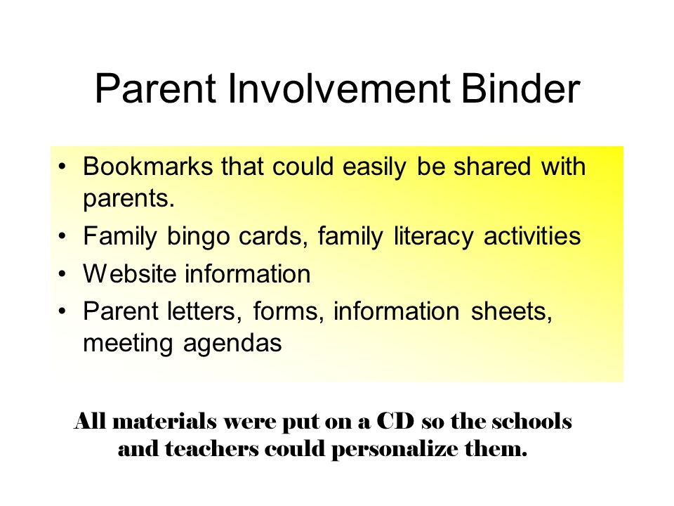 Parent Involvement Binder Bookmarks that could easily be shared with parents. Family bingo cards, family literacy activities Website information Paren