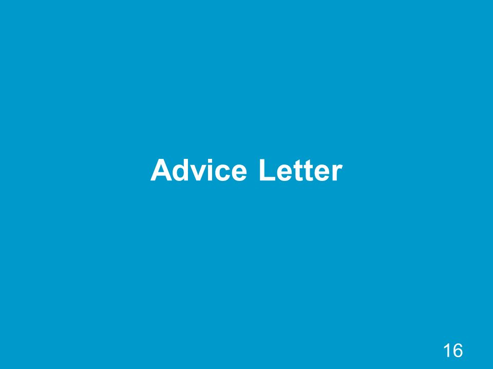 16 Advice Letter