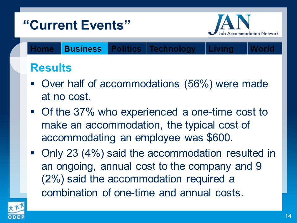 Current Events Results Over half of accommodations (56%) were made at no cost.
