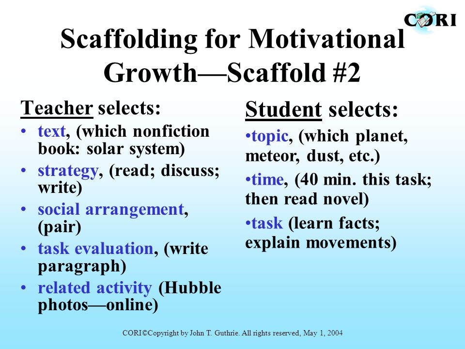 Scaffolding for Motivational GrowthScaffold #2 Teacher selects: text, (which nonfiction book: solar system) strategy, (read; discuss; write) social ar