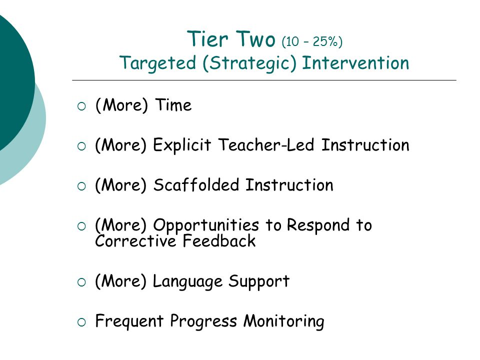 Tier Two (10 – 25%) Targeted (Strategic) Intervention ( More) Time (More) Explicit Teacher-Led Instruction (More) Scaffolded Instruction (More) Opport