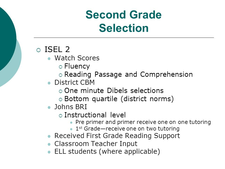Second Grade Selection ISEL 2 Watch Scores Fluency Reading Passage and Comprehension District CBM One minute Dibels selections Bottom quartile (distri