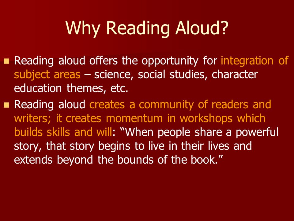 Why Reading Aloud.