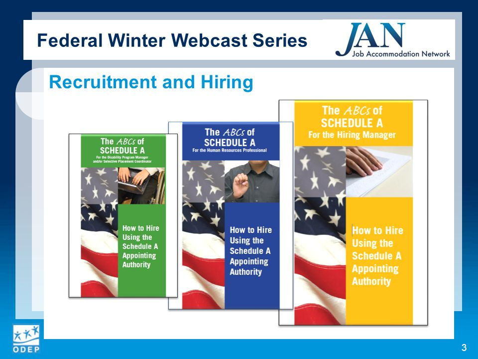 Federal Winter Webcast Series Contact (800)526-7234 (V) (877)781-9403 (TTY) AskJAN.org & jan@askjan.org 14