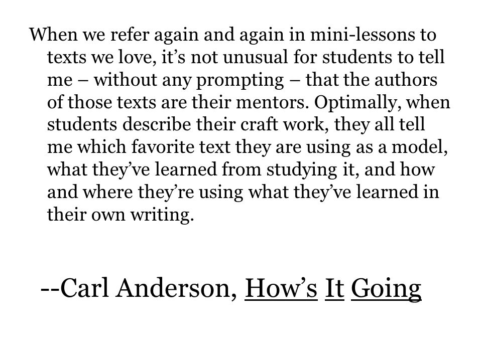 --Carl Anderson, Hows It Going.