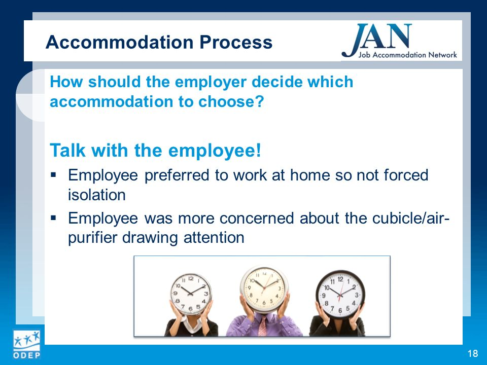 How should the employer decide which accommodation to choose.