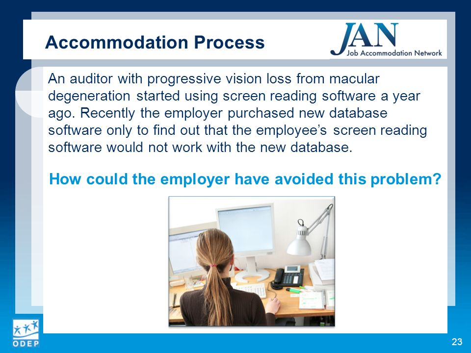 An auditor with progressive vision loss from macular degeneration started using screen reading software a year ago.