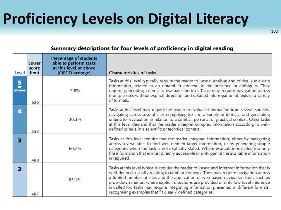 Proficiency Levels on Digital Literacy 100