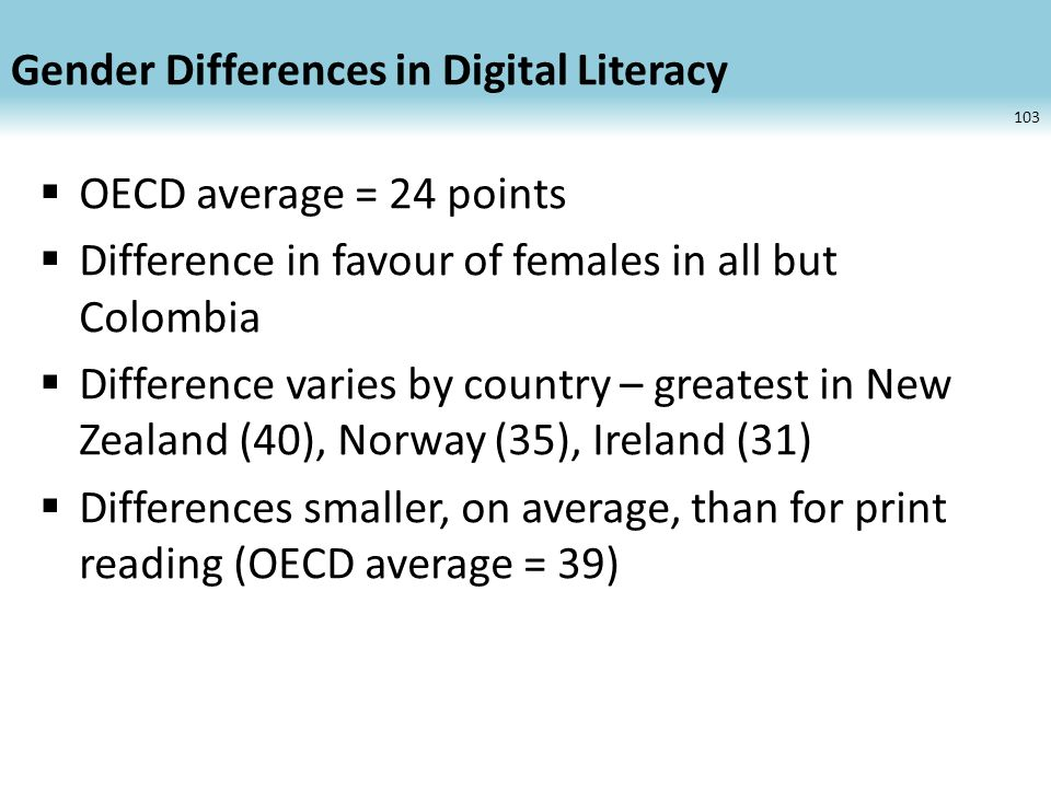 Gender Differences in Digital Literacy OECD average = 24 points Difference in favour of females in all but Colombia Difference varies by country – greatest in New Zealand (40), Norway (35), Ireland (31) Differences smaller, on average, than for print reading (OECD average = 39) 103