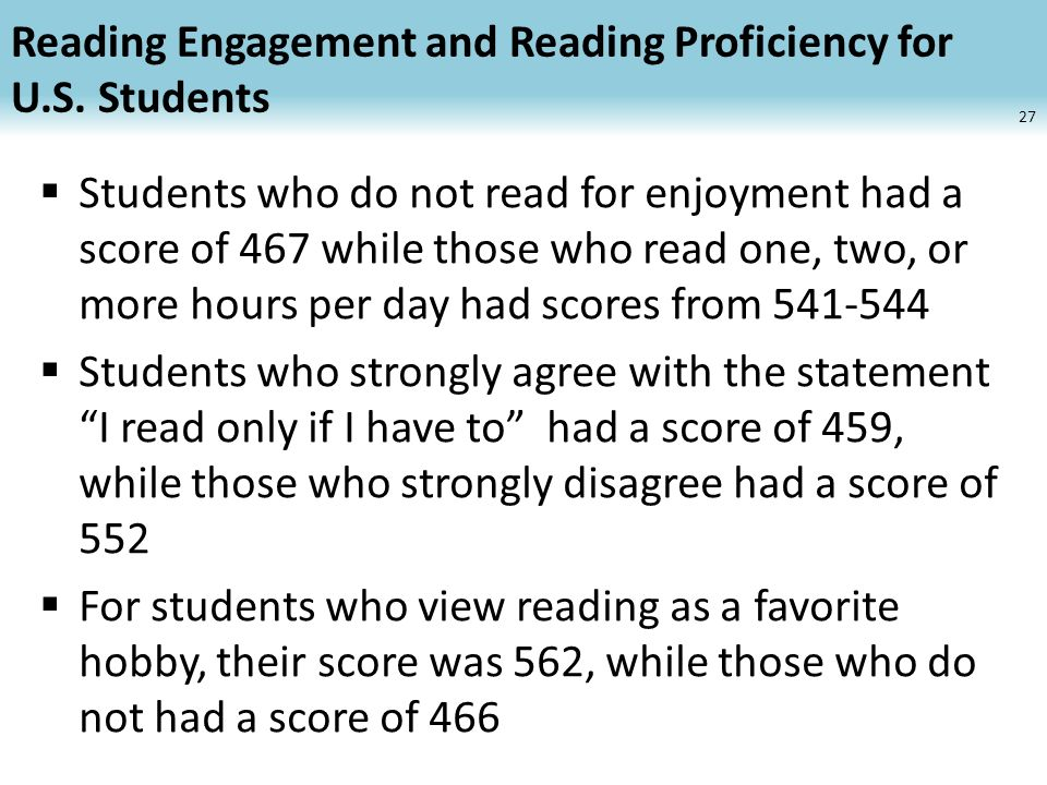 Reading Engagement and Reading Proficiency for U.S.