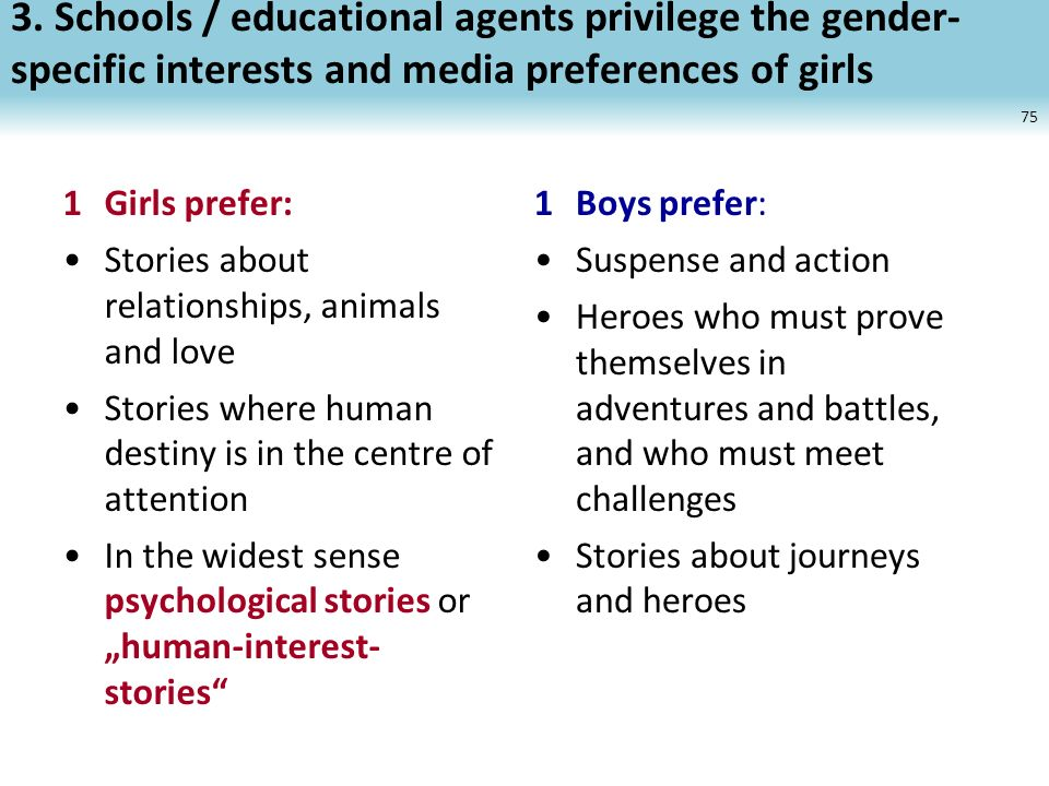 3. Schools / educational agents privilege the gender- specific interests and media preferences of girls 75 1Girls prefer: Stories about relationships,