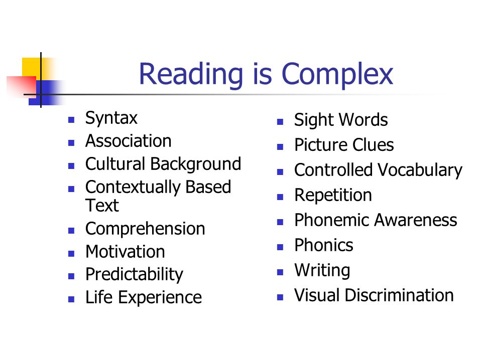 Reading is Complex Syntax Association Cultural Background Contextually Based Text Comprehension Motivation Predictability Life Experience Sight Words Picture Clues Controlled Vocabulary Repetition Phonemic Awareness Phonics Writing Visual Discrimination