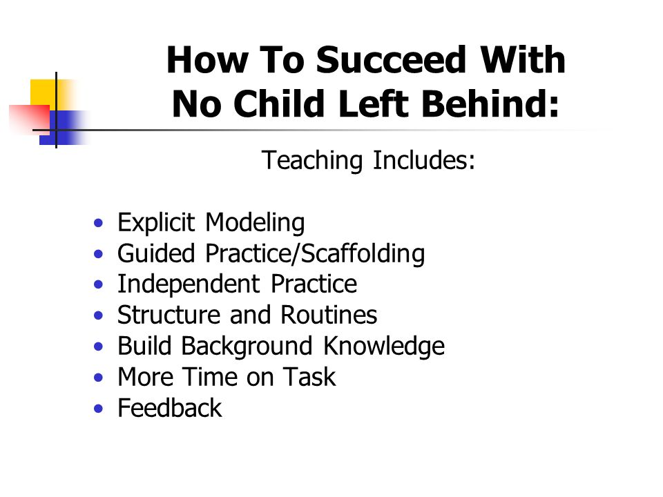 How To Succeed With No Child Left Behind: Teaching Includes: Explicit Modeling Guided Practice/Scaffolding Independent Practice Structure and Routines Build Background Knowledge More Time on Task Feedback