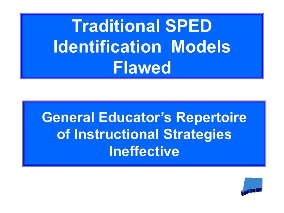 Traditional SPED Identification Models Flawed General Educators Repertoire of Instructional Strategies Ineffective