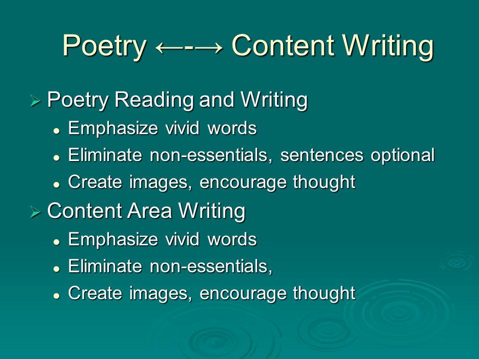Poetry - Content Writing Poetry - Content Writing Poetry Reading and Writing Poetry Reading and Writing Emphasize vivid words Emphasize vivid words El