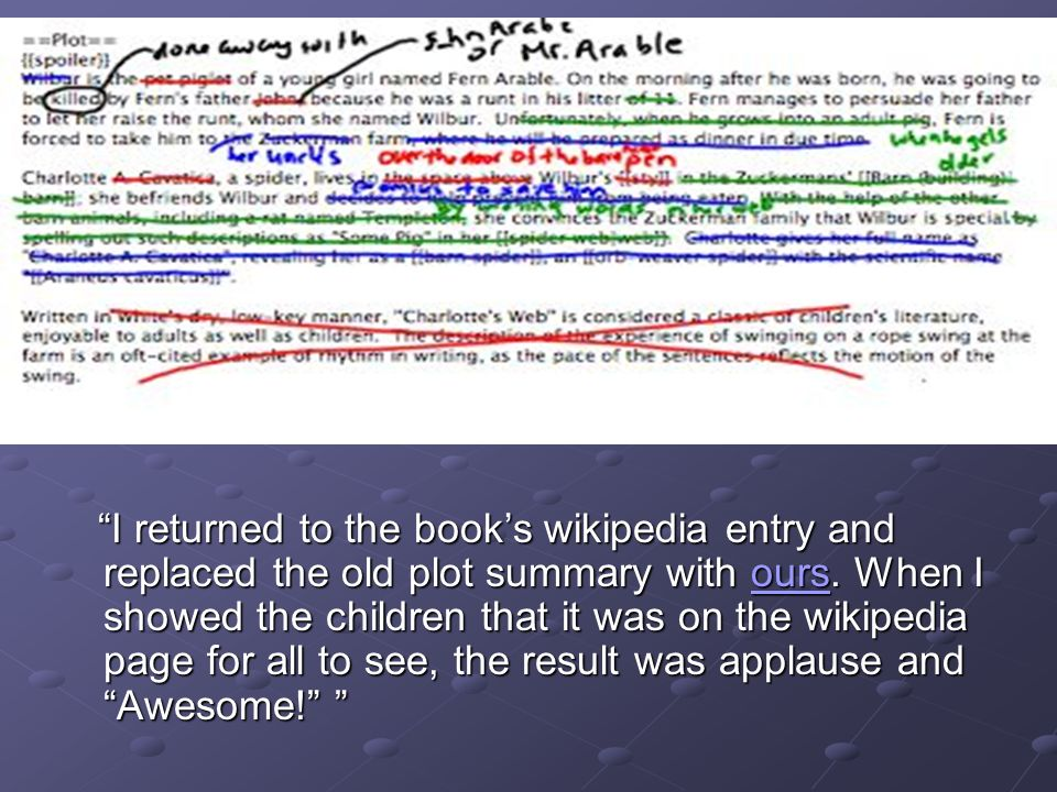 I returned to the books wikipedia entry and replaced the old plot summary with ours.