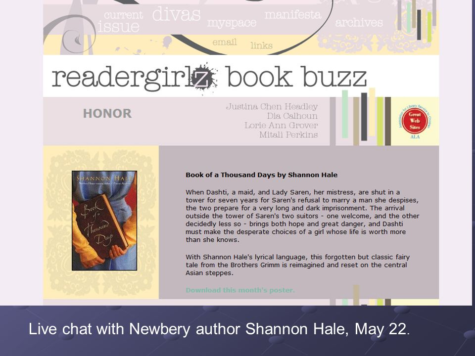 Live chat with Newbery author Shannon Hale, May 22.