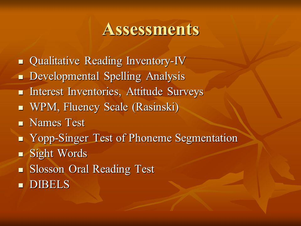 Assessments Qualitative Reading Inventory-IV Qualitative Reading Inventory-IV Developmental Spelling Analysis Developmental Spelling Analysis Interest Inventories, Attitude Surveys Interest Inventories, Attitude Surveys WPM, Fluency Scale (Rasinski) WPM, Fluency Scale (Rasinski) Names Test Names Test Yopp-Singer Test of Phoneme Segmentation Yopp-Singer Test of Phoneme Segmentation Sight Words Sight Words Slosson Oral Reading Test Slosson Oral Reading Test DIBELS DIBELS