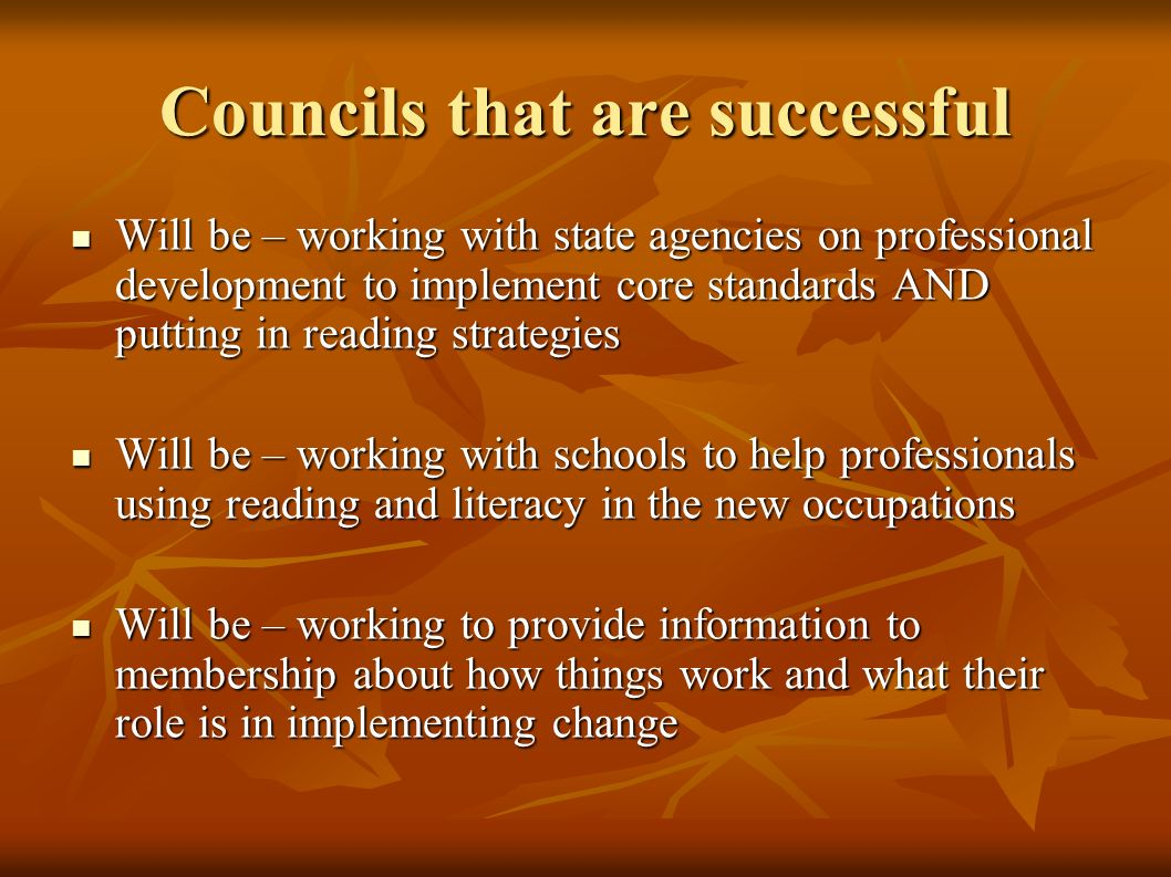 Councils that are successful Will be – working with state agencies on professional development to implement core standards AND putting in reading strategies Will be – working with state agencies on professional development to implement core standards AND putting in reading strategies Will be – working with schools to help professionals using reading and literacy in the new occupations Will be – working with schools to help professionals using reading and literacy in the new occupations Will be – working to provide information to membership about how things work and what their role is in implementing change Will be – working to provide information to membership about how things work and what their role is in implementing change