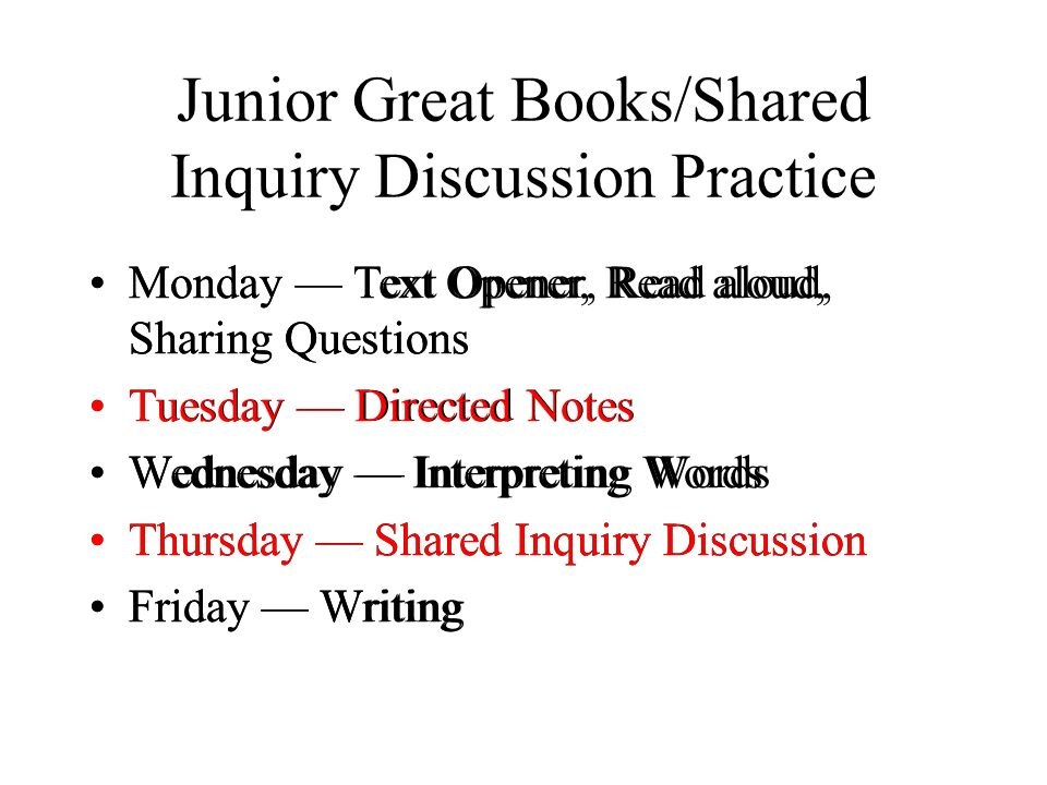 Junior Great Books/Shared Inquiry Discussion Practice Monday Text Opener, Read aloud, Sharing Questions Tuesday Directed Notes Wednesday Interpreting