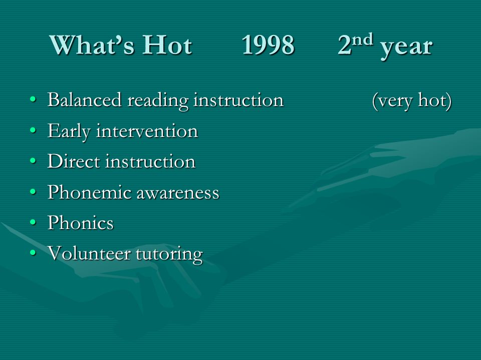 Whats Hot 19982 nd year Balanced reading instruction (very hot)Balanced reading instruction (very hot) Early interventionEarly intervention Direct instructionDirect instruction Phonemic awarenessPhonemic awareness PhonicsPhonics Volunteer tutoringVolunteer tutoring