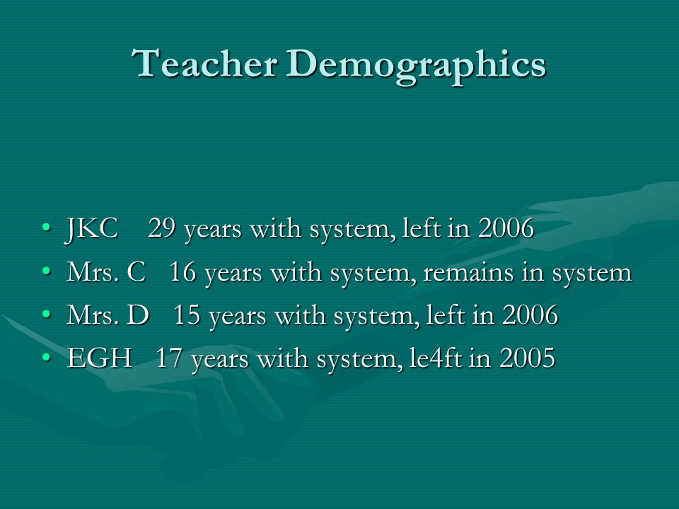 Teacher Demographics JKC 29 years with system, left in 2006JKC 29 years with system, left in 2006 Mrs.