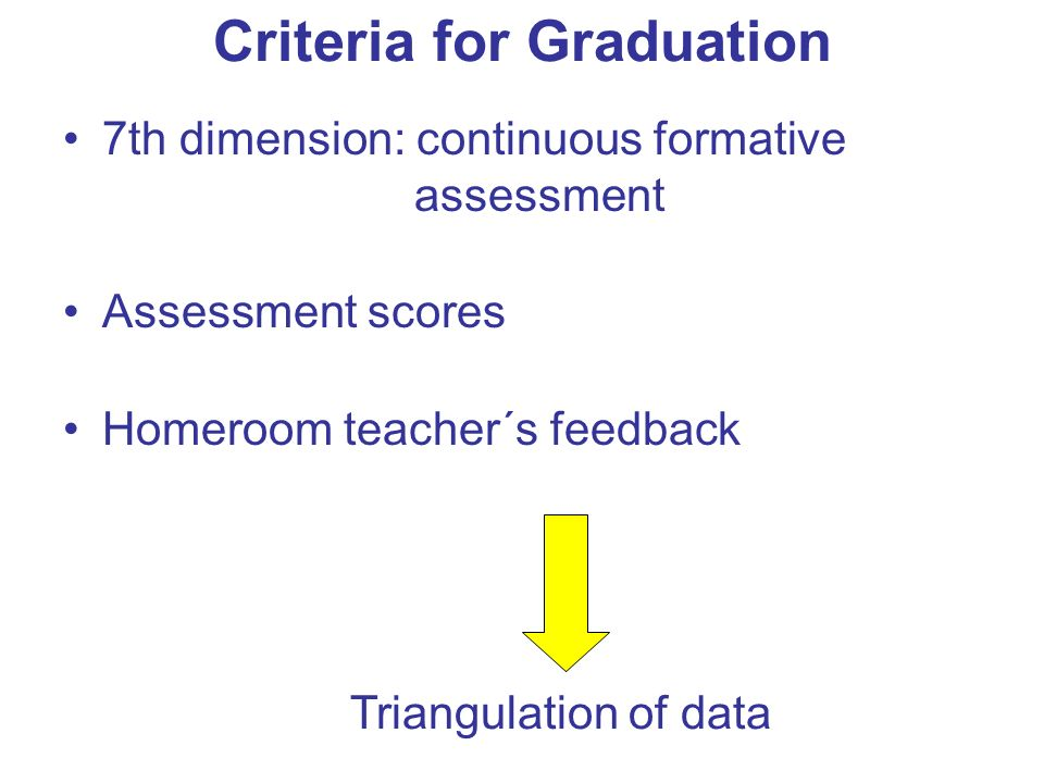 Criteria for Graduation 7th dimension: continuous formative assessment Assessment scores Homeroom teacher´s feedback Triangulation of data