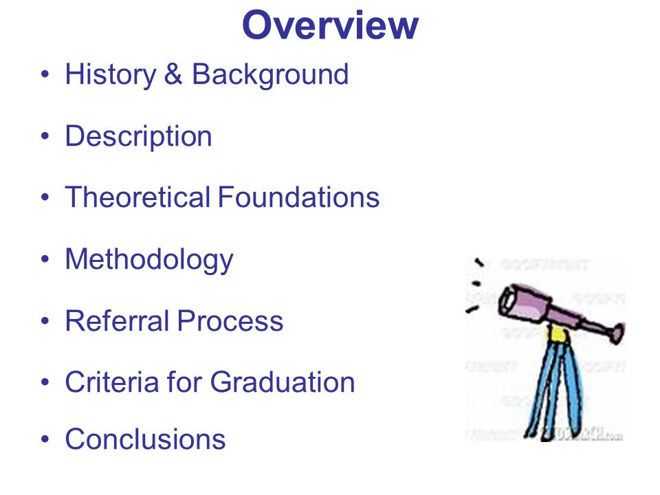 Overview History & Background Description Theoretical Foundations Methodology Referral Process Criteria for Graduation Conclusions