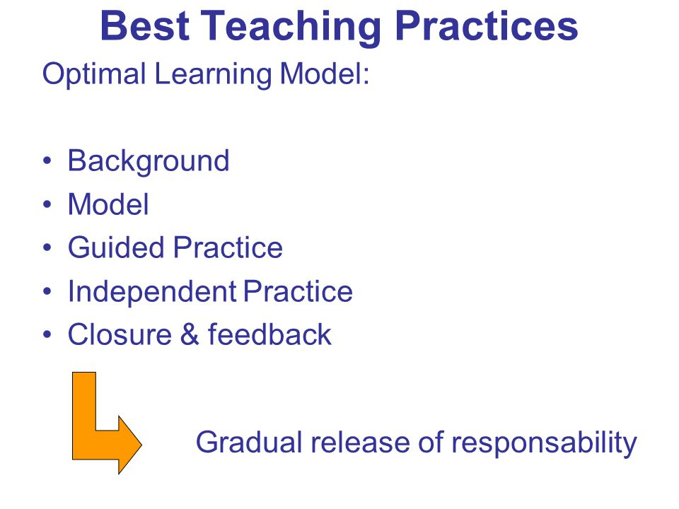 Best Teaching Practices Optimal Learning Model: Background Model Guided Practice Independent Practice Closure & feedback Gradual release of responsability