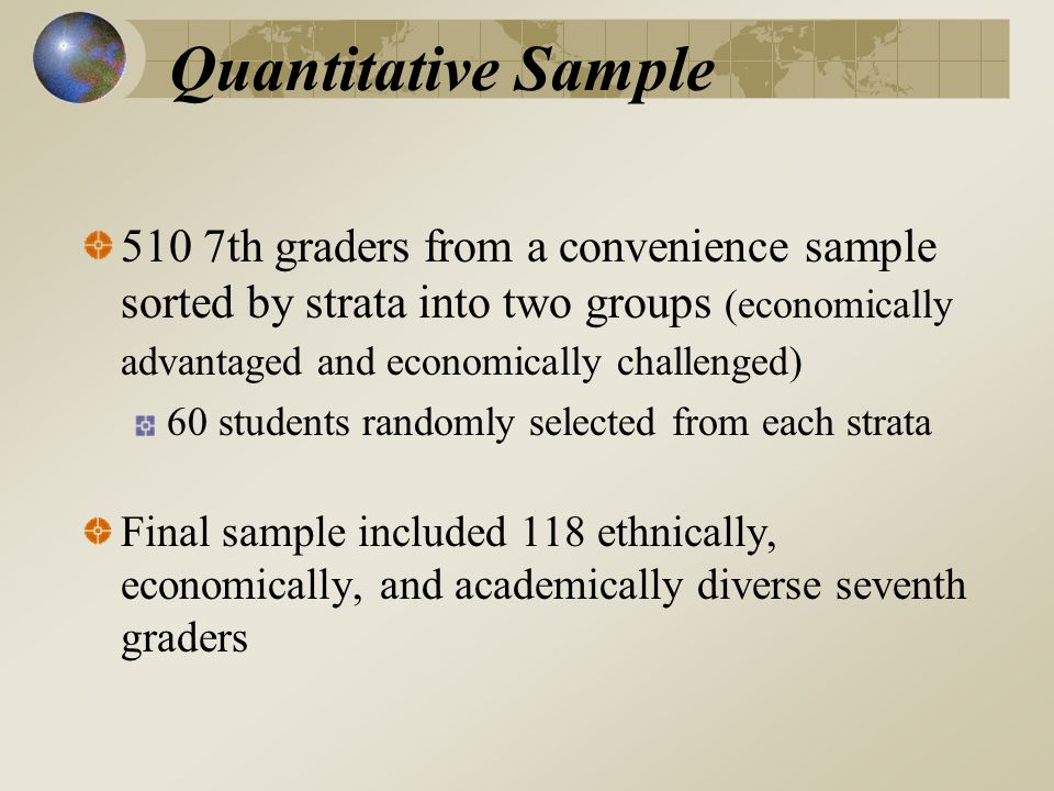 Quantitative Sample 510 7th graders from a convenience sample sorted by strata into two groups (economically advantaged and economically challenged) 60 students randomly selected from each strata Final sample included 118 ethnically, economically, and academically diverse seventh graders