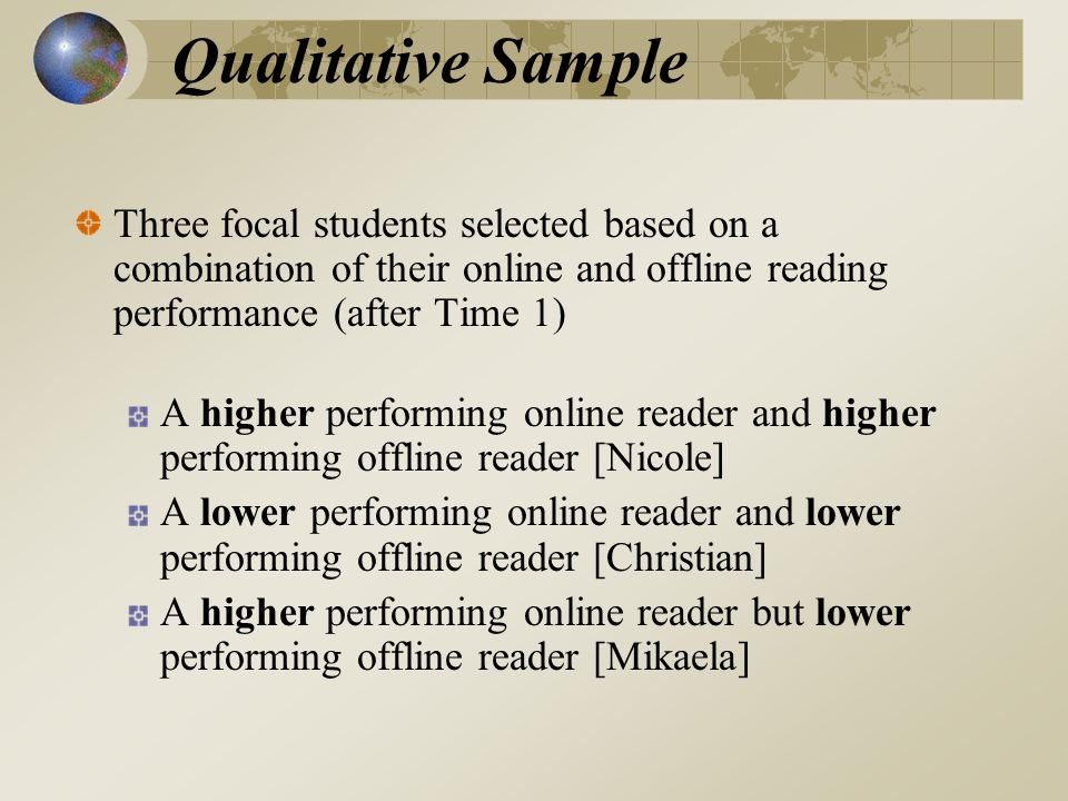 Qualitative Sample Three focal students selected based on a combination of their online and offline reading performance (after Time 1) A higher performing online reader and higher performing offline reader [Nicole] A lower performing online reader and lower performing offline reader [Christian] A higher performing online reader but lower performing offline reader [Mikaela]