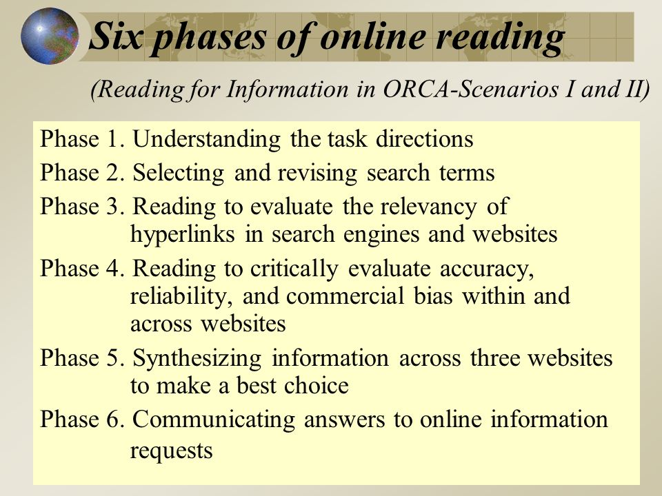 Six phases of online reading (Reading for Information in ORCA-Scenarios I and II) Phase 1.