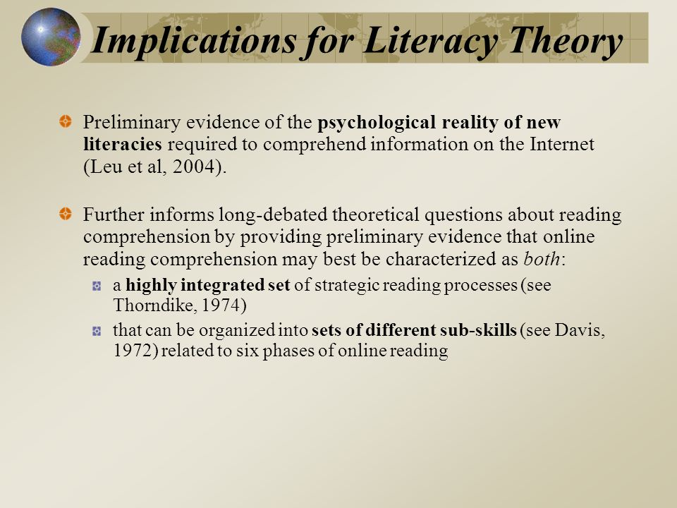 Implications for Literacy Theory Preliminary evidence of the psychological reality of new literacies required to comprehend information on the Internet (Leu et al, 2004).