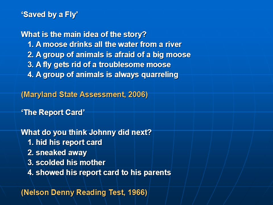 The Report Card What do you think Johnny did next.