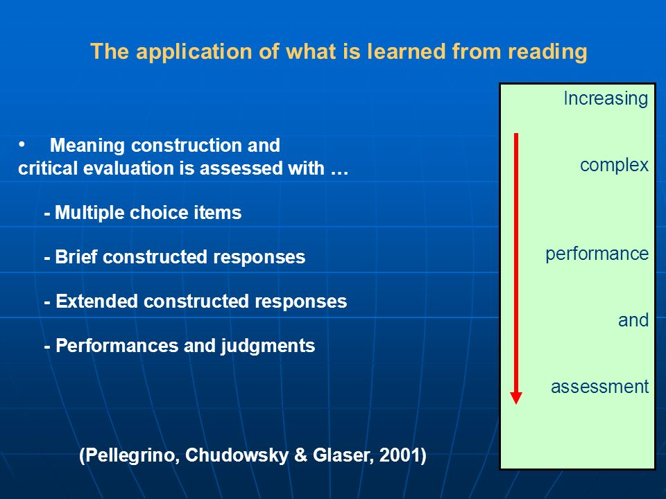 Meaning construction and critical evaluation is assessed with … - Multiple choice items - Brief constructed responses - Extended constructed responses - Performances and judgments Increasing complex performance and assessment (Pellegrino, Chudowsky & Glaser, 2001) The application of what is learned from reading