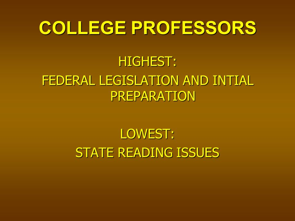 COLLEGE PROFESSORS HIGHEST: FEDERAL LEGISLATION AND INTIAL PREPARATION LOWEST: STATE READING ISSUES