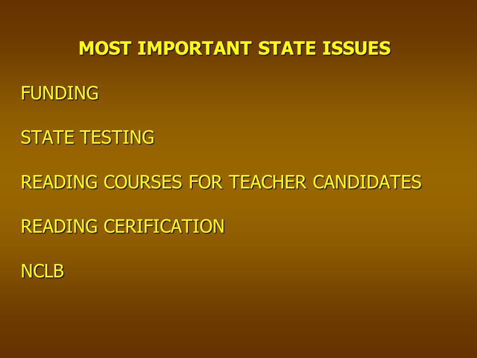 MOST IMPORTANT STATE ISSUES FUNDING STATE TESTING READING COURSES FOR TEACHER CANDIDATES READING CERIFICATION NCLB