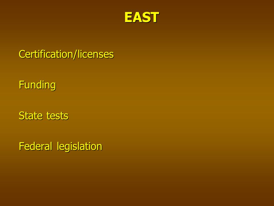 EASTCertification/licensesFunding State tests Federal legislation