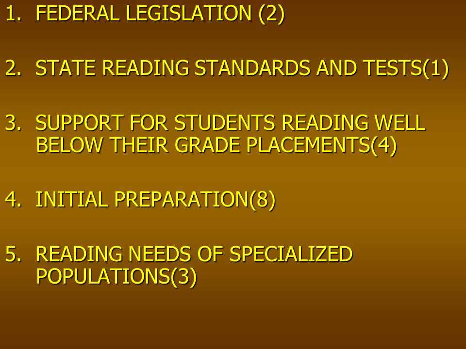 1. FEDERAL LEGISLATION (2) 2. STATE READING STANDARDS AND TESTS(1) 3.