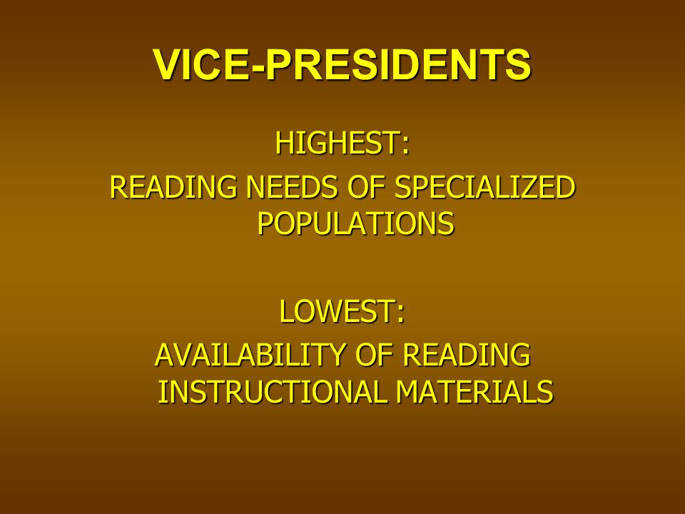 VICE-PRESIDENTS HIGHEST: READING NEEDS OF SPECIALIZED POPULATIONS LOWEST: AVAILABILITY OF READING INSTRUCTIONAL MATERIALS