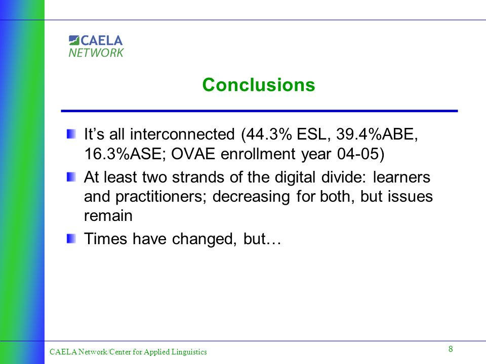 8 CAELA Network/Center for Applied Linguistics Conclusions Its all interconnected (44.3% ESL, 39.4%ABE, 16.3%ASE; OVAE enrollment year 04-05) At least two strands of the digital divide: learners and practitioners; decreasing for both, but issues remain Times have changed, but…