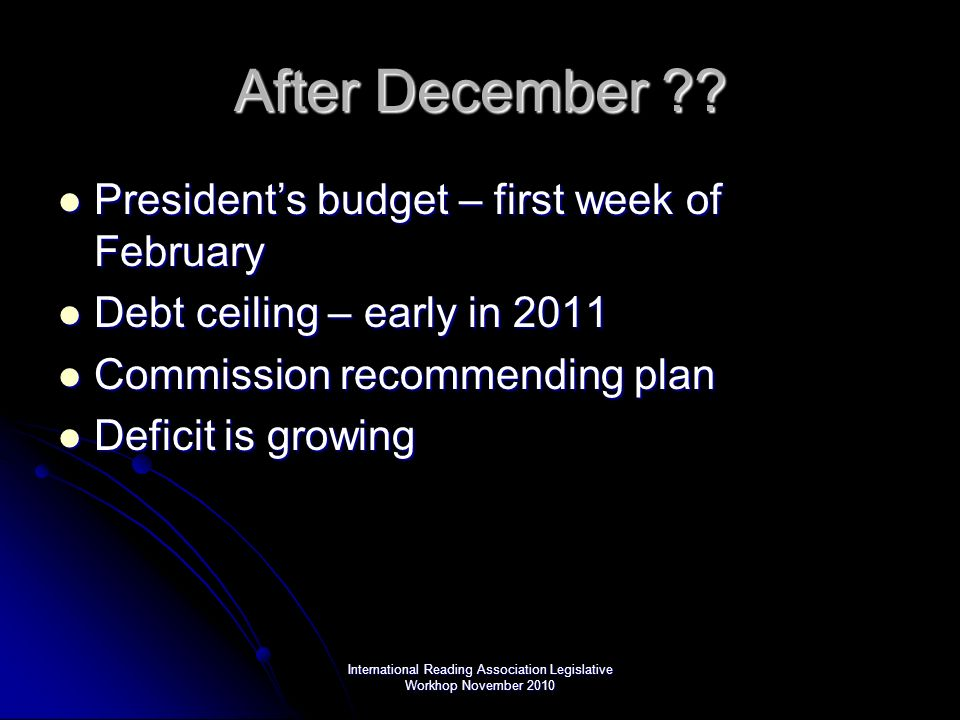After December ?? Presidents budget – first week of February Presidents budget – first week of February Debt ceiling – early in 2011 Debt ceiling – ea