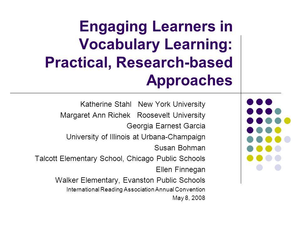 The Importance of Vocabulary Katherine Stahl New York University kay.stahl@nyu.edu