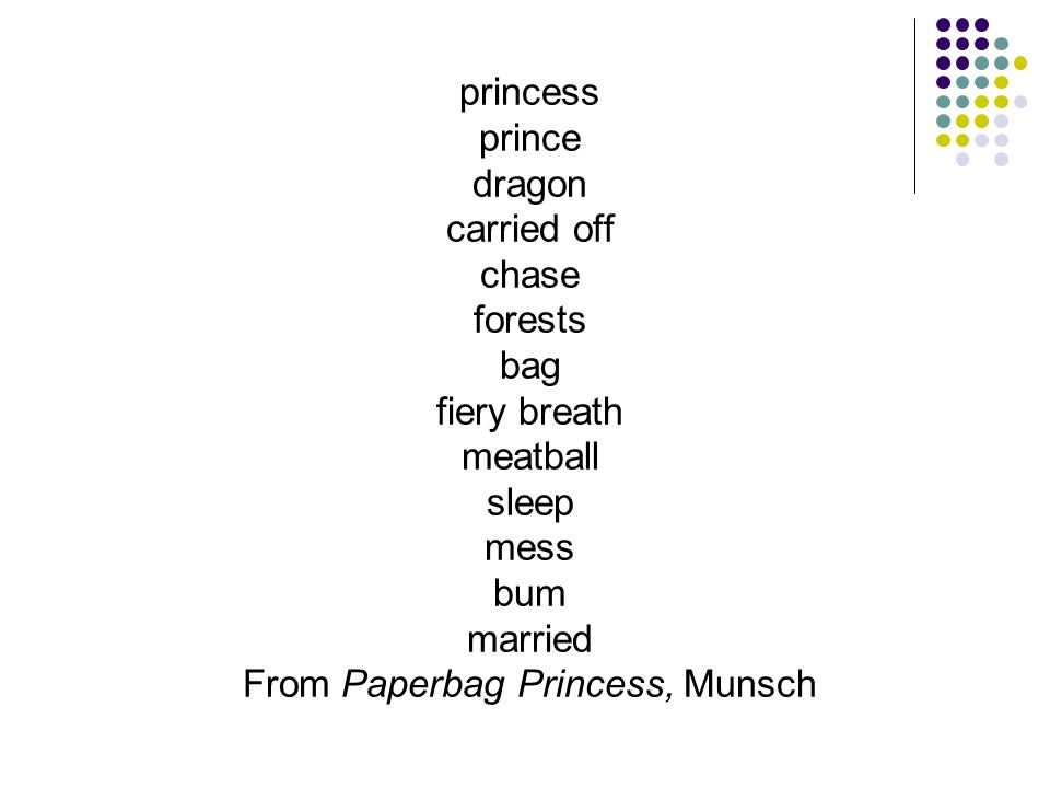 princess prince dragon carried off chase forests bag fiery breath meatball sleep mess bum married From Paperbag Princess, Munsch